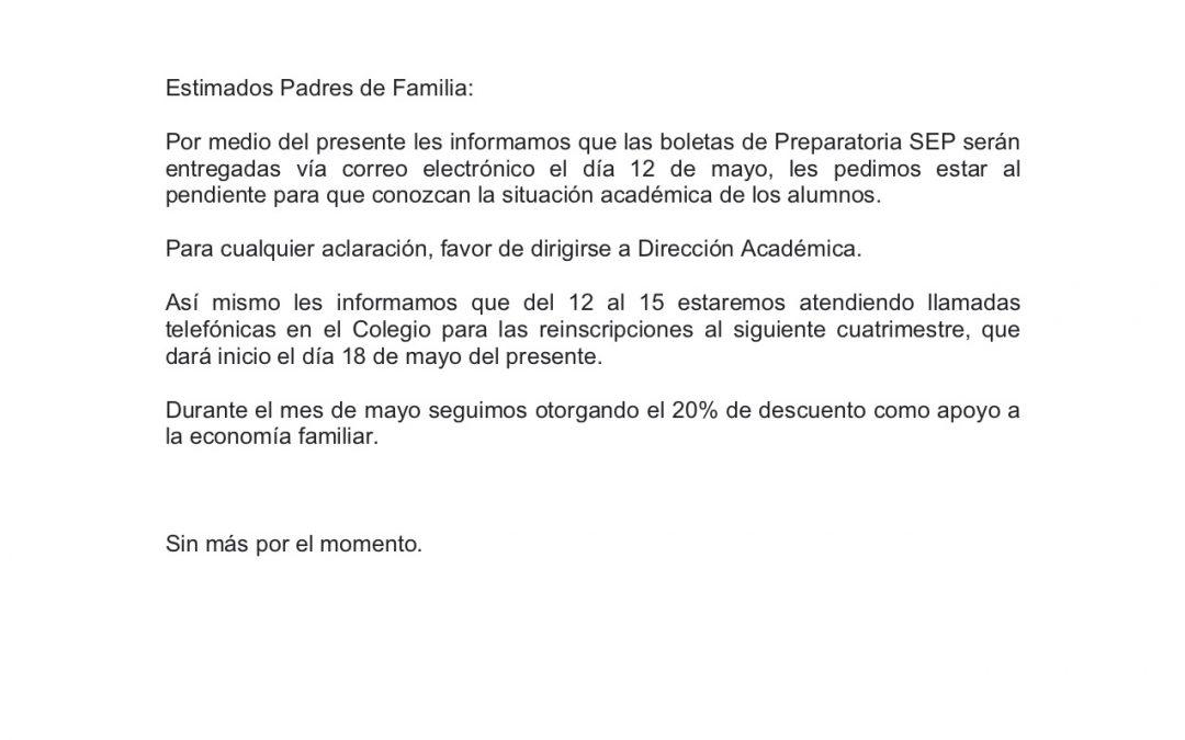 Comunicado Prepa SEP. 30 de abril de 2020