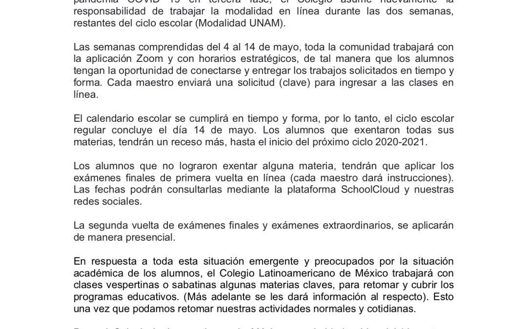 Comunicado prepa UNAM 23 de abril de 2020