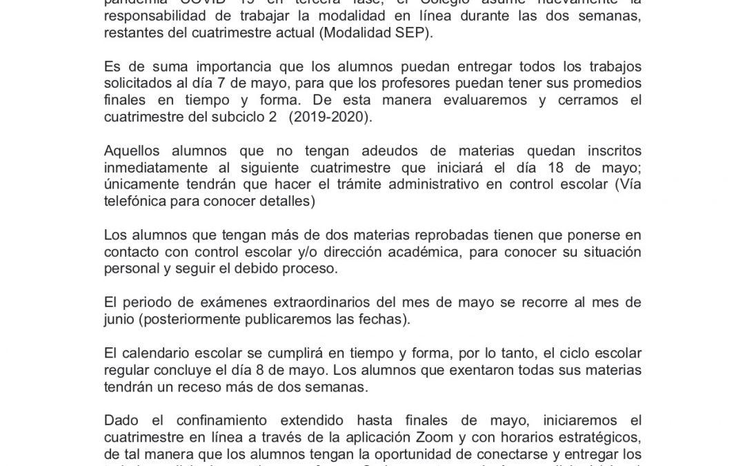 Comunicado prepa SEP 23 de abril de 2020