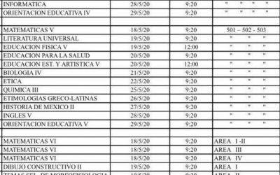 Calendario de exámenes primera vuelta UNAM